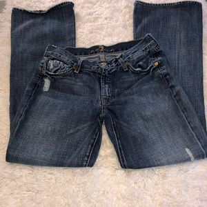 For all 7 mankind flare distressed jeans